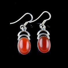 925 STERLING SILVER NATURAL RED ONYX GEMSTONE HANDMADE EARRINGS KJE81 #Unbranded