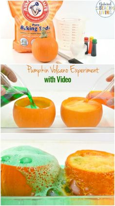 Kids love hands-on Science Activities, and Pumpkin Science Experiments are perfect for a fall theme,This Pumpkin Volcano is an awesome exploding pumpkin experiment for preschoolers, Add this Pumpkin Science to your Kids Science Table or Pumpkin Lesson Plans #pumpkin #scienceforkids #preschool #kindergarten #science #pumpkinactivities #fallactivities