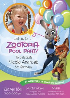 Pool Party Zootopia Birthday Invitation for Girls | Customize it with your daughter along the bunny Judy Hopps and the fox Nick Wilde. #ZootopiaBirthday #ZootopiaPoolParty #myheroathome