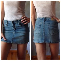"3for$13 | Denim Mini Skirt Light denim mini skirt. Gently worn. Excellent condition. No damage. Juniors size 1 fits like a size 0. Has stretch for better fit. Waist measures 13.5"" flat across. 12""L. Color best shown in pic 3. Bundle any 3/$6 items for $13; 4/$6 items for $18 or 5/$6 items for $22 refuge Skirts Mini"
