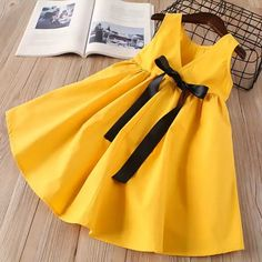Online Shop Hurave kids dress for girls Children Sleeveless drawstring dress causal solid infant A-line backless Princess cotton dresses Dress For Girl Child, Little Girl Dresses, Toddler Dress, Baby Dress, Girls Dresses, Children Dress, Little Girl Fashion, Kids Fashion, Baby Frocks Designs