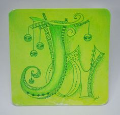 Sue's tangle trips - Done on a hand-colored tile for sale on Sue's blog.