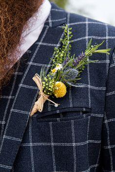Buttonhole Flowers Inkersall Grange Farm Wedding Jessica Grace Photography #Wildflowers #Thistle #Rosemary #Daisy #Buttonhole #WeddingFlowers #Wedding #Twine