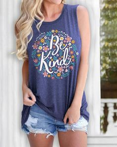 Letter Floral Print Casual Tank Top wedding welcome gift, wedding centerpiecees, wedding cajes #weddings #weddinggift #weddingblog Shirt Bluse, Crew Neck Shirt, Cropped Tank Top, Cool Outfits, Floral Prints, Tank Tops, Crop Tops, Clothes For Women, Casual