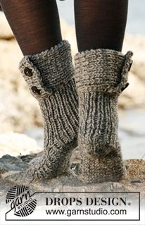 """Knitted DROPS slippers in 2 strands """"Nepal"""". ~ DROPS Design"""
