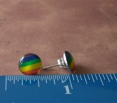 Rainbow Gay Pride Lesbian Awareness 10mm Stainless Steel Stud Earrings Jewelry