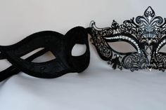 His and hers masquerade black mask, couples perfect black metal and phantom masquerade mask Masquerade Outfit, Couples Masquerade Masks, Sweet 16 Masquerade, Masquerade Ball Party, Black Masquerade Mask, Mascarade Mask, Lace Mask, Cool Masks, Beautiful Mask