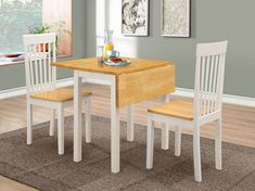 Atlas dropleaf dining set in white and oak with 2 chairs - 48181 modern, contemporary budget dining table & chairs. Small Dining Sets, Wooden Dining Set, Oak Dining Room, Round Dining Set, Glass Dining Table, Dining Table In Kitchen, Dining Table Chairs, Dining Furniture Sets, Kitchen Furniture