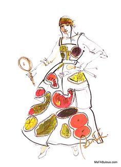 Carlos Falchi sketch for 1994 Fashion & Food Desk Diary