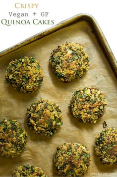 Crispy Quinoa Veggie Cakes - Vegan, gluten-free, nut-free! Find the recipe on Oh She Glows.