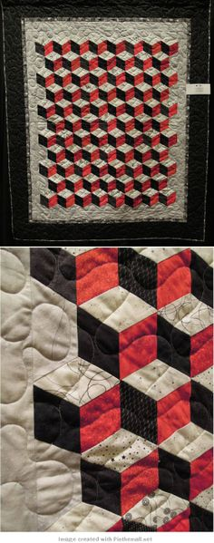 quilting - tumbling block inspiration - note that top of each cube is actually two pieces in the same colour so quilt can be made in strips