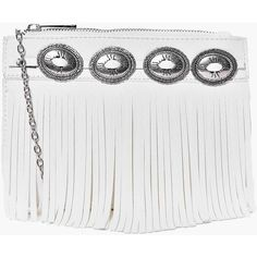 Boohoo Ivy Concho Belt Fringed Cross Body Bag ($20) ❤ liked on Polyvore featuring bags, handbags, shoulder bags, white, white backpack, backpack shoulder bag, envelope clutch bag, fringe crossbody and white envelope clutch