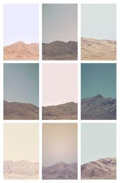 Compositie van bergen en kleuren in een collage