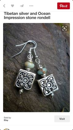 Tibetan silver and Ocean Impression stone rondell earrings Handcrafted Jewelry, Earrings Handmade, Artisan Jewelry, Simple Earrings, Bead Earrings, Silver Earrings, Silver Ring, Silver Beads, 925 Silver