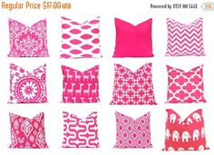 Sale Hot Pink Pillow Covers Pink Chevron by CompanyTwentySix. Like the suzani. She has swatches. If I got that I would want to confirm the placement of the pattern esp on the front.  Also had this in coral. Tons of good fabrics. And does euros