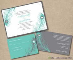 Peacock Feathers Wedding Invitation  DIY by JWImpressions on Etsy, $30.00