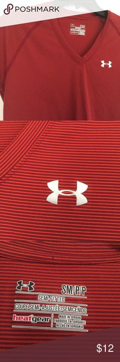 UNDER ARMOUR V NECK Small Petite Shirt Semifitted UNDER ARMOUR WOMENS V-NECK  HEAT GEAR T-SHIRT  Size - Small Petite No flaws; worn once. Smoke free home. If you have any questions please don't hesitate to ask!! Under Armour Tops Tees - Short Sleeve
