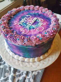 Bday Cakes For Girls, Teen Girl Cakes, Little Girl Birthday Cakes, 9th Birthday Cake, Little Girl Cakes, Birthday Ideas, Tye Dye Cake, Zebra Cakes, Flower Cakes