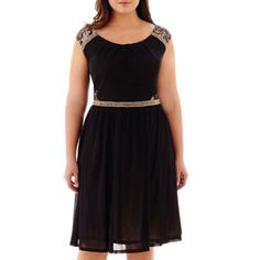 Melrose Cap-Sleeve Beaded Chiffon Dress - Plus  found at @JCPenney