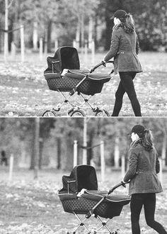 Kate walking George in Kensington Gardens