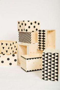 DIY Idea: Make Patterned Wooden Crates For Storage.