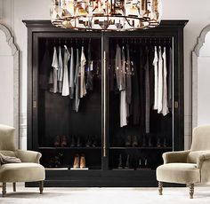 Restoration Hardware 20th C. English Brass Bar Slider Glass Double-Door Wardrobe, but in Waxed White