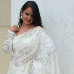 white sari long sleeved blouse