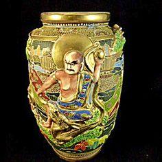 Large Satsuma Vase, Deities and Dragon.