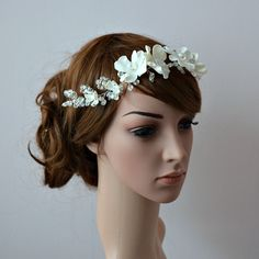 Bridal wreath, ivory wedding headpiece ~ Delicate floral hair vine ~ Flowers and crystals headband for flower girl ~ Bridal tiara, bohemian - pinned by pin4etsy.com