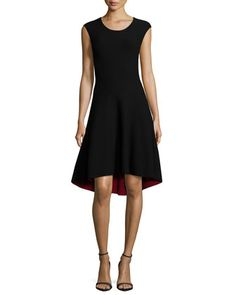 Reversible Fit-and-Flare Double-Face Dress, Black/Red by Milly at Bergdorf Goodman.
