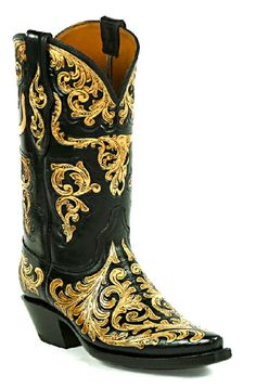 Hand-Tooled Leather Boots Style HT-189 Custom-Made by Black Jack Boots