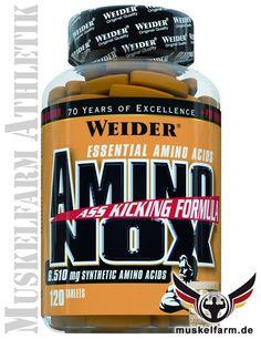 Weider Amino Nox liefert synthetische, essentielle Aminosäuren (EAA) inkl. den drei BCAA's und wurde zusätzlich mit PTK (Alginsäure) ergänzt.
