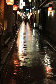 Kyoto Street  #Street #Alley #Rain #Water #Kyoto #Japan