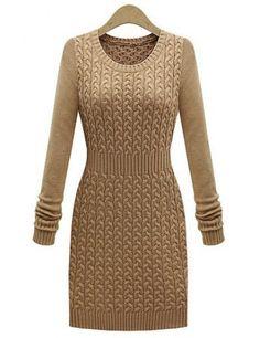 Casual Round Neck Hemp Flower Pattern Waisted Corset Long Sleeve Women's Sweater Dress