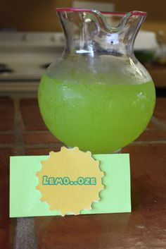 """What a cool drink for themed party. This would be great for T's zombie bday in a few months. I would label it """"Lemon-ooze"""" though. Add the """"n"""" back in the word. Awesome idea!"""
