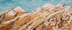 """High on the Mountain Top"", 2006 by Vincent Matheney  Size: 5"" x 12"" Medium: Watercolor on Illustration Board Dominant Colors: Blue and Brown"