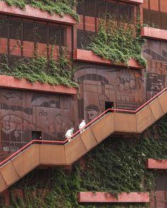 Parking House + Konditaget Lüders by JAJA Architects | Parks Stairs Architecture, Architecture Design, Green Facade, Stair Steps, Building Exterior, Park Homes, Commercial Interiors, Architectural Elements, Copenhagen