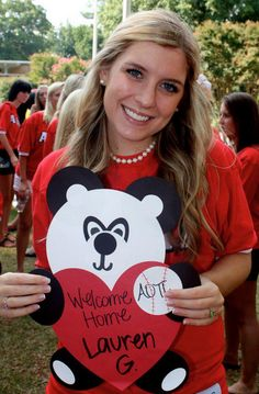 Nametags & Bid Day Signs   alpha omicron pi   panda heart AOII   sorority sugar
