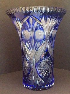 Bohemian-Czech-Cobalt-Blue-Cut-to-Clear-Floral-Harvest-Design-Crystal-9-5-Vase