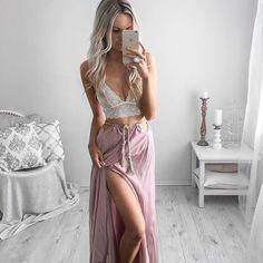 Lace Top + Maxi Skirt