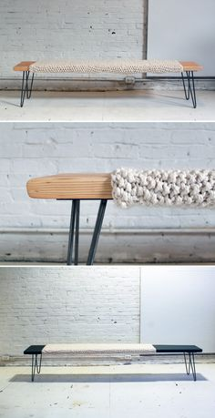 Mixing genres and methods can yield wonderful results. Adding a knit sleeve to this simple wood bench adds a nice contrast of texture and materiality.