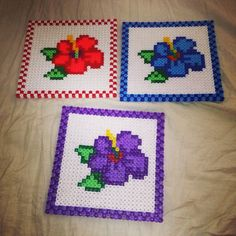 Flower perler bead coasters by mychatrine