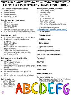 About Small Group Time - FREE Printable Idea List Small group ideas for preschool, pre-k, and kindergarten FREE printable list!Small group ideas for preschool, pre-k, and kindergarten FREE printable list! Preschool Centers, Preschool Classroom, Preschool Learning, Preschool Activities, Preschool Alphabet, Alphabet Letters, Head Start Preschool, Preschool Curriculum Free, Preschool Transitions