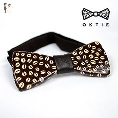 OKTIE Art Coffee Handmade Wooden Bow Tie For Men Brown Wood With Gift Box - Groom fashion accessories (*Amazon Partner-Link)