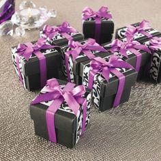 Michaels.com Wedding Department: Ribbon Adorned Favor Box Black, White and Purple ribbons make for striking wedding favors.