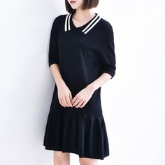 Striped Peter pan collar sweater dress with ruffle for women