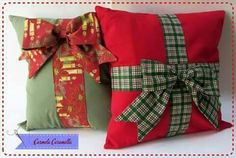 Christmas Sewing, Diy Christmas Gifts, Red Christmas, All Things Christmas, Christmas Ornaments, Fabric Christmas Trees, Christmas Cushions, Christmas Pillow, Sewing Pillows
