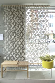 Macreme window covering or room divider. Sally England via the brick house