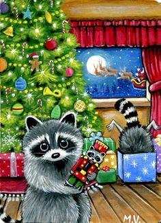 Original Raccoons Christmas Tree presents Santa's Sleigh Reindeer  ACEO painting #Realism