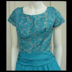 Vintage dress from the 1950s; an evening or ball gown with turquoise blue silver embroidery; bust 36 or a medium to large. Please check exact